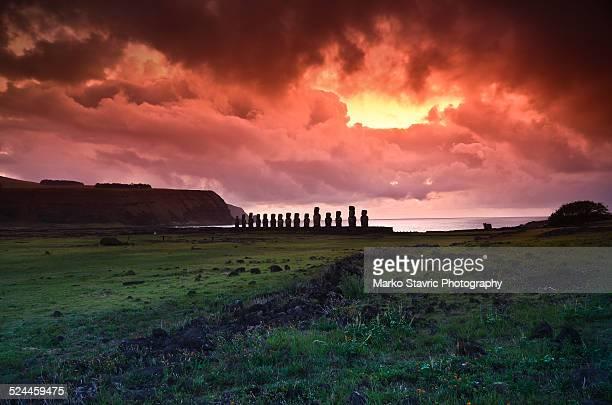 Sunrise at Ahu Tongariki, Easter Island