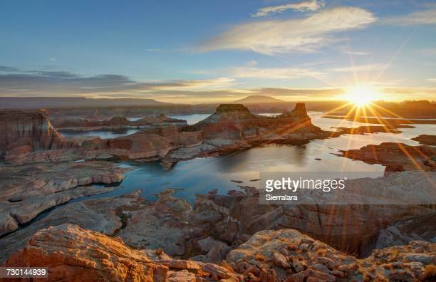 Sunrise at Alstrom Point Over Gunsight Bay, Lake Powell, Utah, America, USA