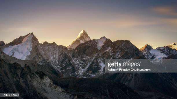 Sunrise at Ama Dablam mountain peak from Chola pass