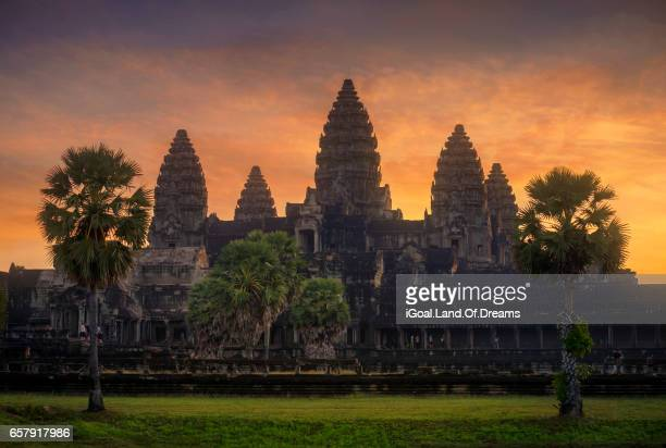 sunrise at angkor wat temple siem reap cambodia - angkor stock photos and pictures