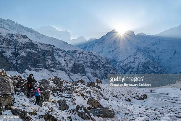 sunrise at annapurna base camp - machapuchare stock photos and pictures