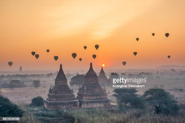 sunrise at bagan city, myanmar. - myanmar culture stock photos and pictures