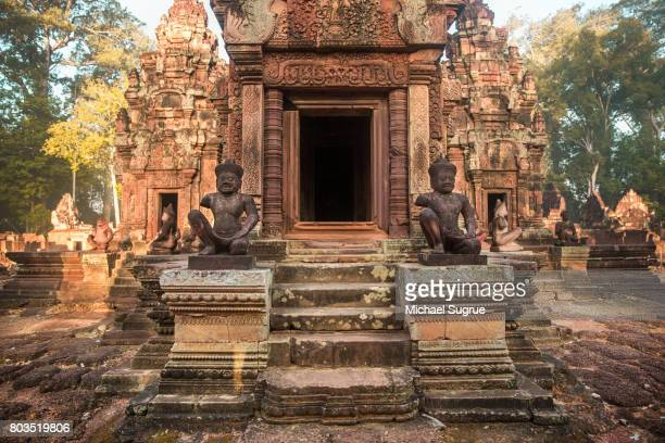 sunrise at banteay srei temple, near angkor wat, siem reap, cambodia. - banteay srei stock pictures, royalty-free photos & images