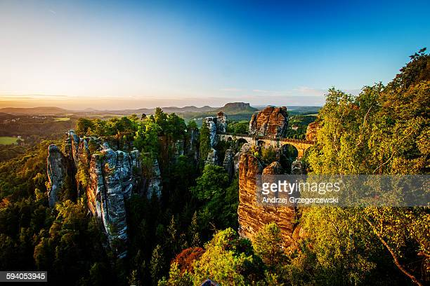 sunrise at bastei in germany - saxony stock pictures, royalty-free photos & images