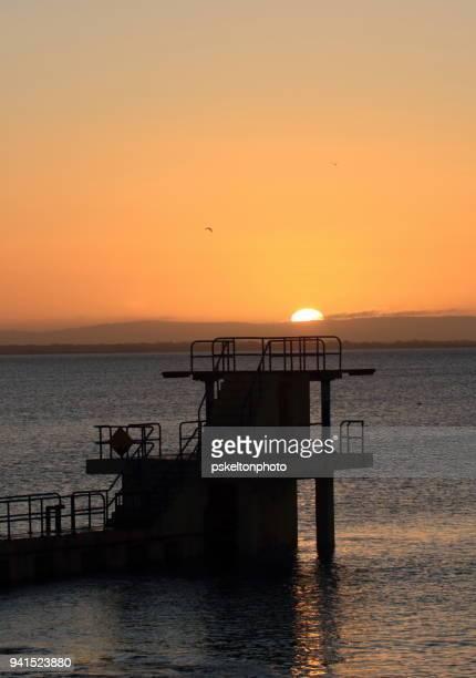 sunrise at blackrock diving board - blackrock stock pictures, royalty-free photos & images