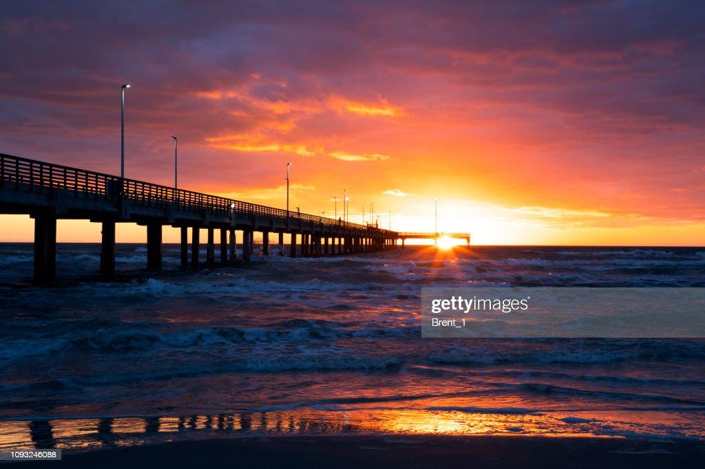 Sunrise at Bob Hall Pier : Stock Photo