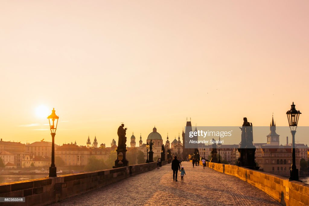 Sunrise at Charles Bridge, Prague, Czech Republic : Stock Photo