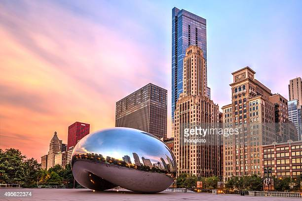 sunrise at cloud gate - chicago illinois stock pictures, royalty-free photos & images