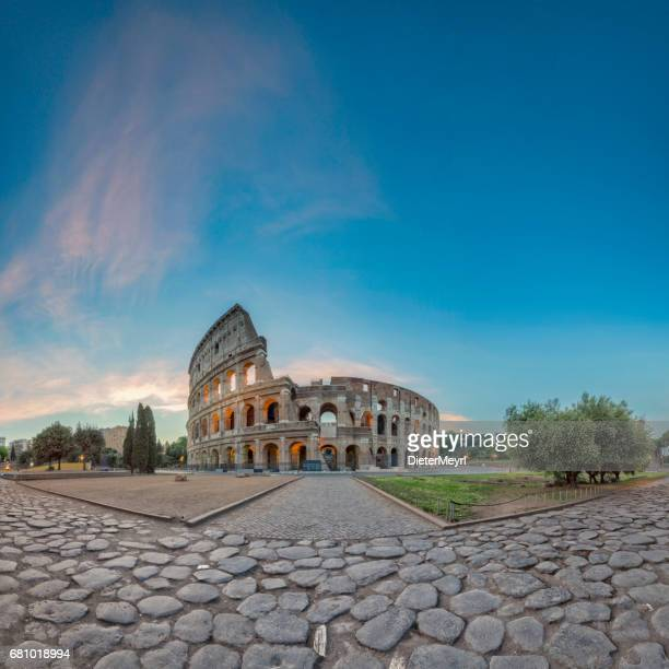sunrise at colosseum, rome, italy - xxl panorama - coliseum rome stock photos and pictures