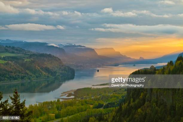 sunrise at crown point in columbia river gorge - columbia river gorge stock pictures, royalty-free photos & images