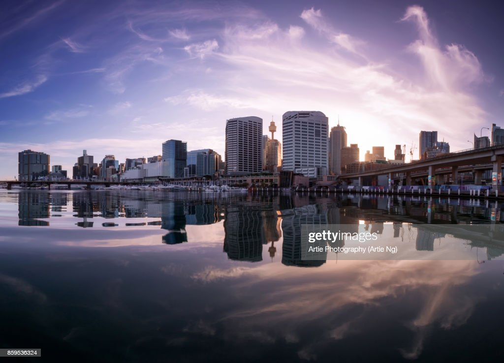 Sunrise at Darling Harbour in Sydney, New South Wales, Australia : Stock Photo