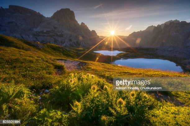 sunrise at drei zinnen / tre cime di lavaredo - toblach stock photos and pictures