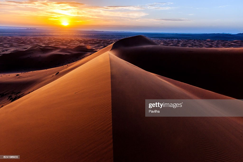 Sunrise at Erg Chebbi Sand Dunes, Morocco,North Africa : Stock Photo