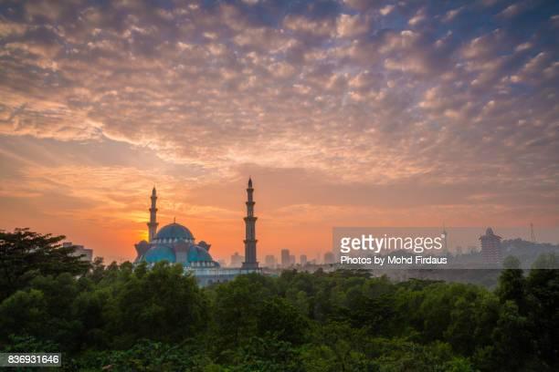 Sunrise at Federal Territory Mosque, Kuala Lumpur, Malaysia