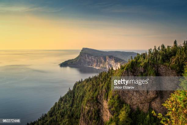 sunrise at forillon national park - forillon national park stock pictures, royalty-free photos & images