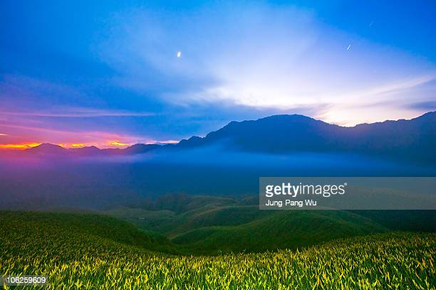 sunrise at golden needle hills - hualien county stock pictures, royalty-free photos & images