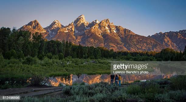 sunrise at grand teton - grand teton national park stock pictures, royalty-free photos & images