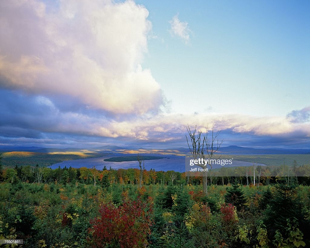Sunrise at Height of Land Moose Lookmeguntic Lake in the Autumn, Maine, USA. : Stock Photo