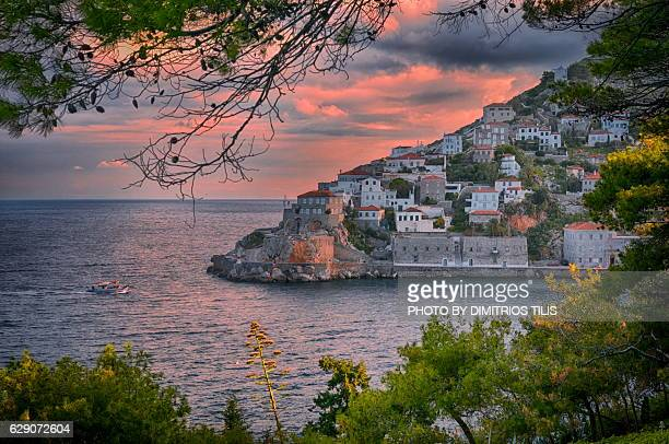 sunrise at hydra - hydra greece stock photos and pictures