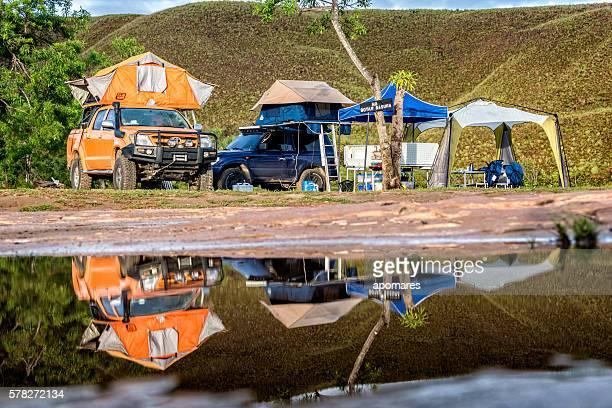 sunrise at la playita camp in la gran sabana venezuela - la gran sabana fotografías e imágenes de stock