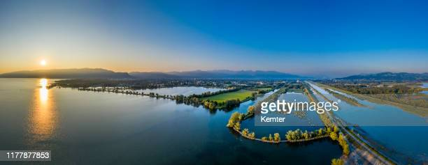 sunrise at lake constance - bodensee stock pictures, royalty-free photos & images