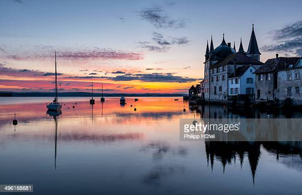 """Sunrise at Lake Constance with the """"Turmhof"""" Castle in Steckborn, Thurgau, Switzerland"""