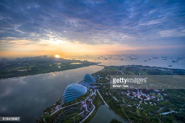 sunrise at marina bay - nee nee stock photos and pictures