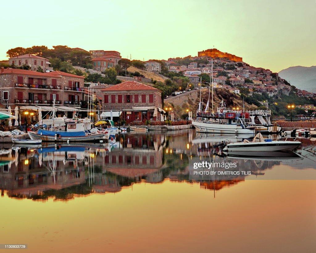 Sunrise at Molyvos harbor : Stock Photo