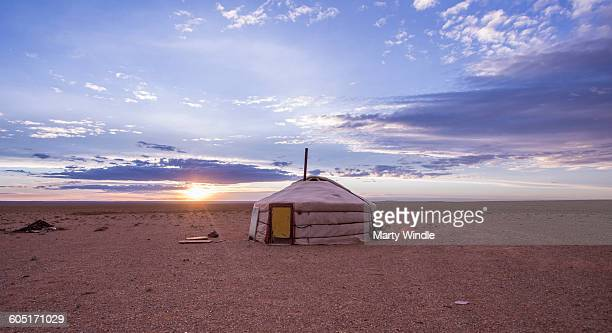 Sunrise at Mongolia yurt, Gobi desert