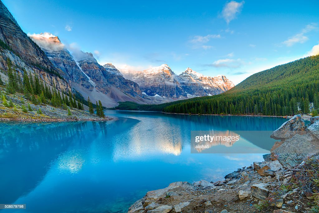 Sunrise at Moraine lake : Stock Photo