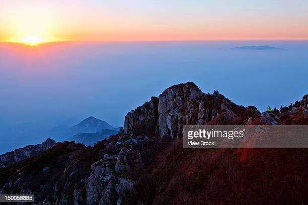 """sunrise at mountain tai,shandong,china"" - shandong province stock pictures, royalty-free photos & images"