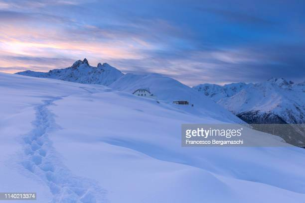 Sunrise at Muottas Muragl, Engadine valley, Canton of Grisons, Switzerland, Europe.