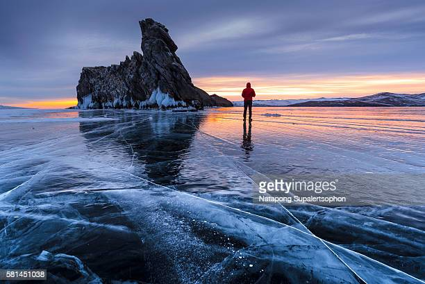 Sunrise at Ogoy Rock in winter. Lake Baikal
