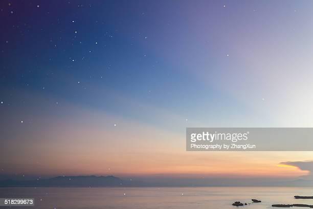 Sunrise at Okinawa with stars