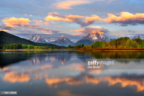 sunrise at oxbow bend, grand teton national park - don smith stock pictures, royalty-free photos & images