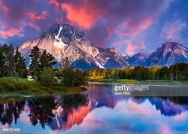 sunrise at oxbow bend - jackson hole stock pictures, royalty-free photos & images