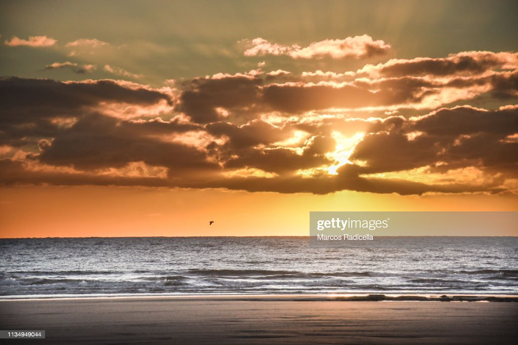 Sunrise at Patagonian shore : Stock Photo