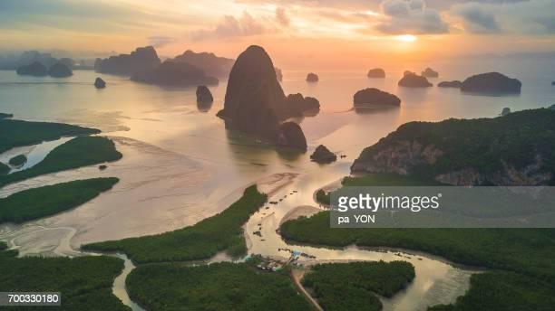 Sunrise at Phang nga bay, Phang nga, Thailand.