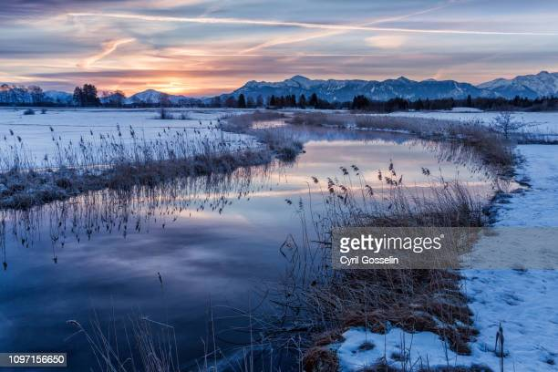 sunrise at river ach in winter - bavarian alps stock pictures, royalty-free photos & images