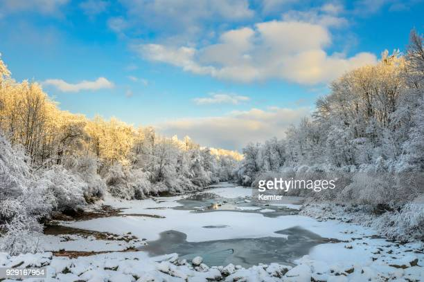 sunrise at river in winter - vorarlberg stock photos and pictures