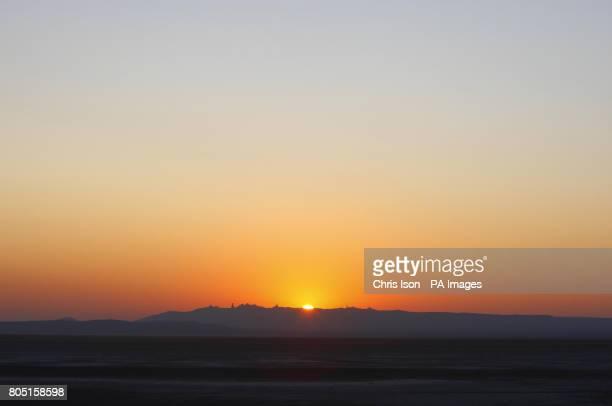 Sunrise at Rogers Dry Lake Edwards Airforce Base Mojave Desert California USA
