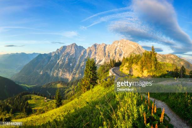 sunrise at rossfeld mountain panoramic road, berchtesgaden, germany - mountain pass stock pictures, royalty-free photos & images