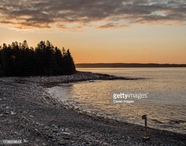 sunrise at seawall beach, acadia national park, maine - seawall stock pictures, royalty-free photos & images