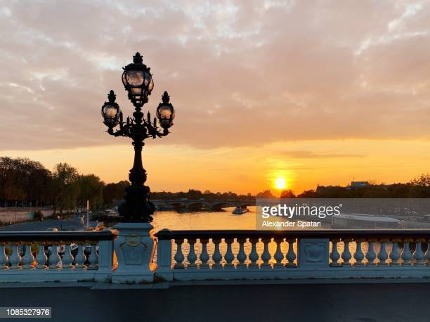 Sunrise at Seine river seen from Pont Alexandre III