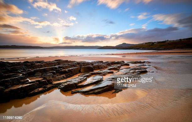 sunrise at talmine beach, scotland, the north coast 500 - scotland stock pictures, royalty-free photos & images