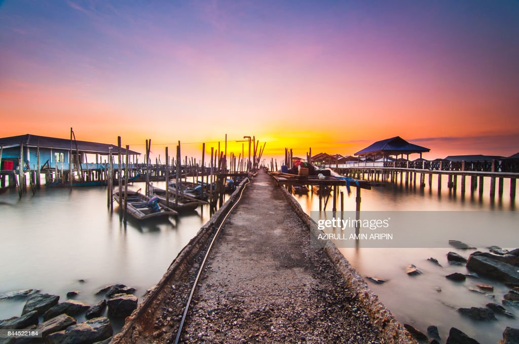 Sunrise at tanjung piai : Foto de stock