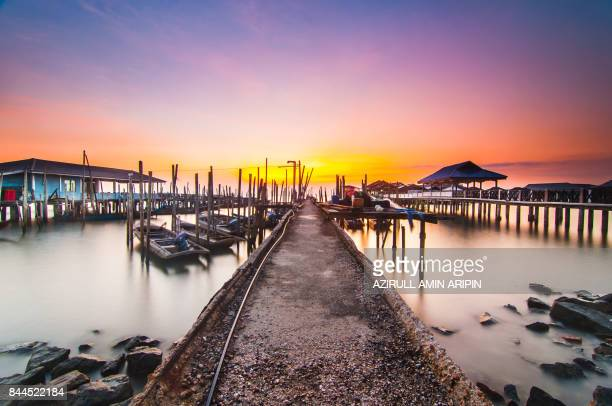 sunrise at tanjung piai - fishing village stock pictures, royalty-free photos & images