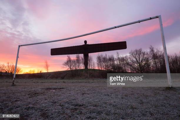 Sunrise at the Angel of the North viewed from the adjacent football pitch on February 14 2018 in Gateshead England Tomorrow marks the 20th...