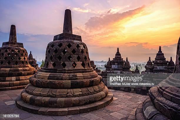 A sunrise at the Borobudur Temple
