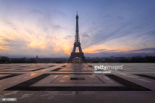 sunrise at the Eiffel tower . .